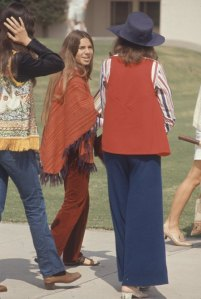 Subject: Students of Woodside High wearing hippy fashion like ponchos, boots, and sandals. California October 1969 photographer- Arthur Schatz Time Inc Owned Merlin- 1201958