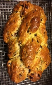 Braided yeast bread with dried fruits.