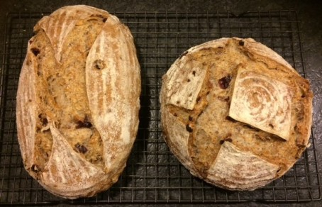 Sourdough rye with cranberries.