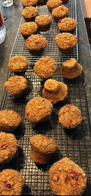 Whole bran muffins with cranberries. (And yes, I ground wheat berries and sifted the bran to make.)
